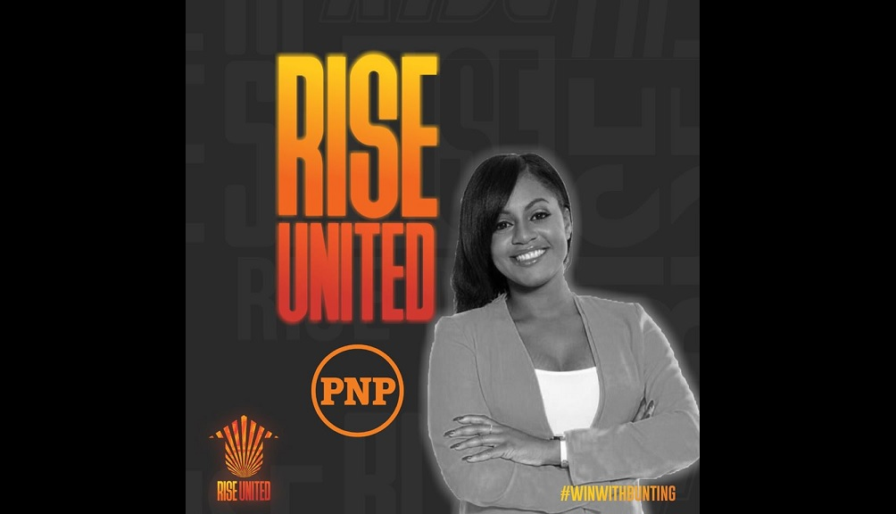 PNP councillor Kari Douglas posted this image of herself with Peter Bunting's leadership campaign slogan, 'Rise United', on social media Friday. Douglas has endorsed Bunting in his challenge for the party's top job.