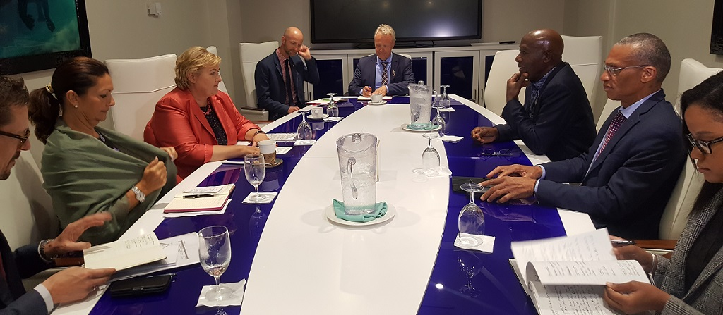 Prime Minister Dr Keith Rowley (top right) sits obliquely opposite Norway's Prime Minister Erna Solberg.