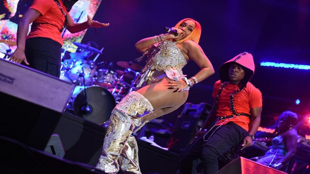 Dancehall artiste Rre performing on the Reggae Sumfest 2019 stage on Friday. (PHOTOS: Marlon Reid)