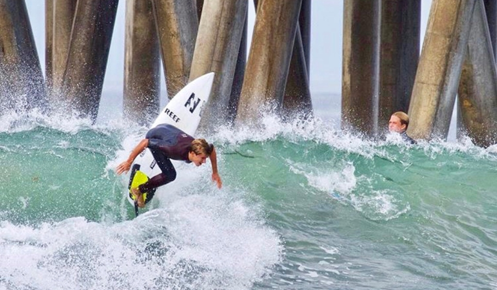 Josh Burke at Huntington Pier in California.