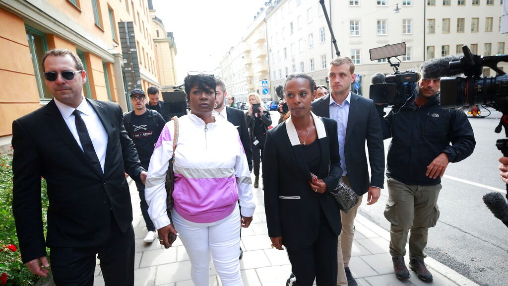 Renee Black, 2nd left, ASAP Rocky's mother, arrives to the district court where US rapper A$AP Rocky is to appear on charges of assault, in Stockholm, Sweden, Tuesday July 30, 2019. (Fredrik Persson / TT via AP)