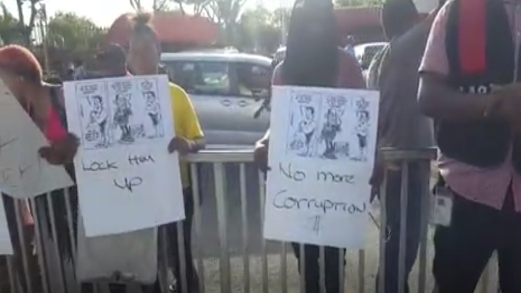 A screen grab from a video of the early stage of the PNP corruption vigil at Mandela Park in Half-Way Tree, St Andrew on Thursday morning.