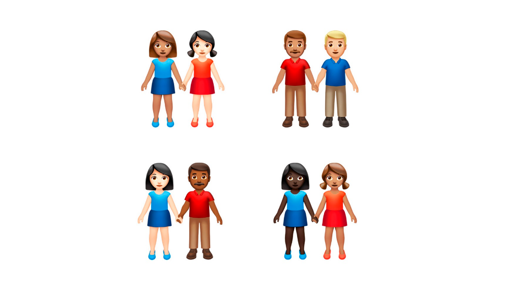 This image provided by Apple shows new emoji's released by Apple. Both Apple and Google are rolling out dozens of new emojis that, as usual, included cute crittters, but also ones that expand the boundaries of inclusion. (Apple via AP)