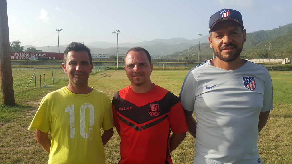 Photo shows three of the international contributors who were part of the Valeo FC/KSAFA Summer Coaching Academy. From left are  scout Dario Castelo and coaches Miguel Misis and Sergio Recas.