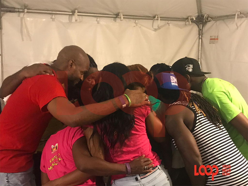 Team Mikey huddled after winning the inaugural 2019 Soca Monarch competition