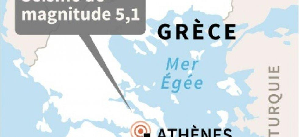Localisation du séisme de magnitude 5,1 survenu vendredi à une vingtaine de kilomètres au nord-ouest d'Athènes