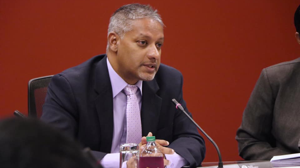 Agriculture Minister Clarence Rambharat speaks during a Joint Select Committee Meeting on July 26, 2019. Photo via Facebook, Parliament of Trinidad and Tobago.