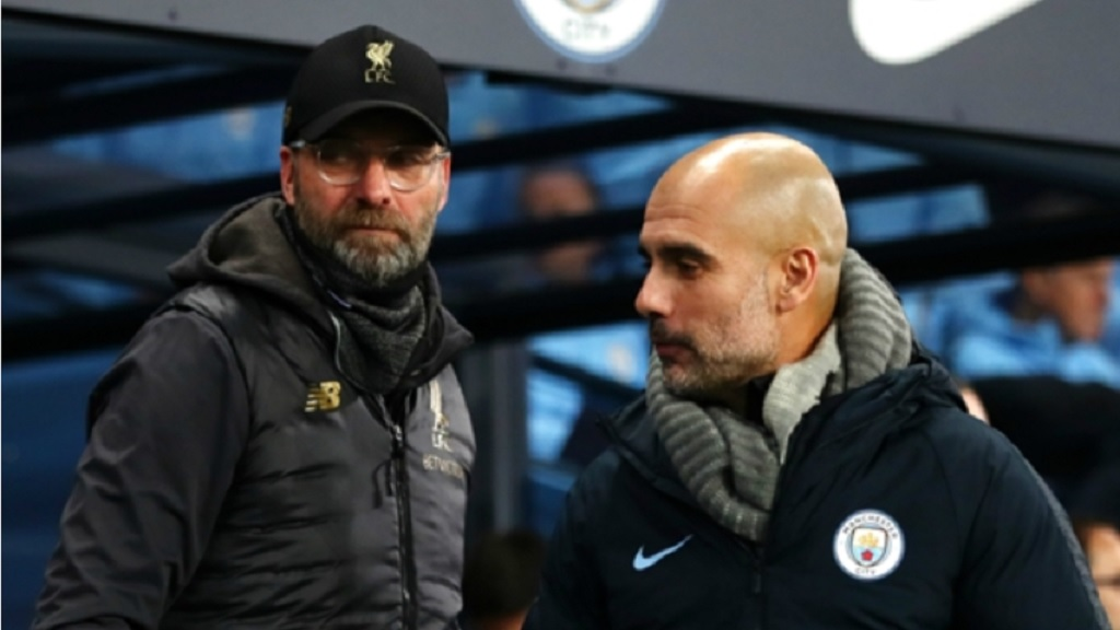 Liverpool manager Jurgen Klopp and Manchester City boss Pep Guardiola.