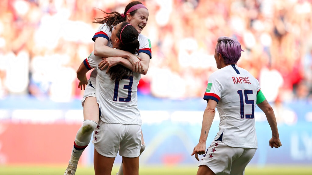 Celebration time among US Women's World Cup teammates.