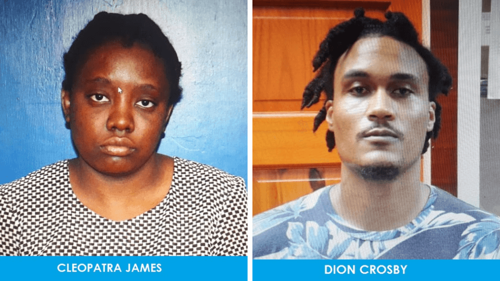 Former Unit Trust Corporation (UTC) employees Cleopatra James (left) and Dion Crosby (right) were held in Crown Point on their way to the airport with plane tickets to Amsterdam, Netherlands.