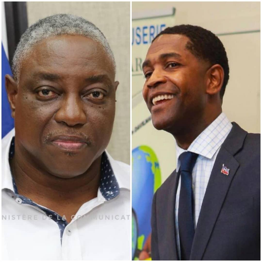 Collage/ A droite, Hervé Pierre Louis, DG de l'ED'H et, à droite, Jose Joachim Davilmar, ex responsable de com.
