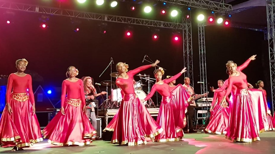 Dancers from the Cayman Islands during Country Night at Carifesta XIV in Trinidad and Tobago