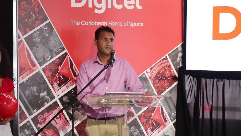 Navin Balkissoon, Head of Home & Entertainment addresses the crowd at the Digicel EPL launch.
