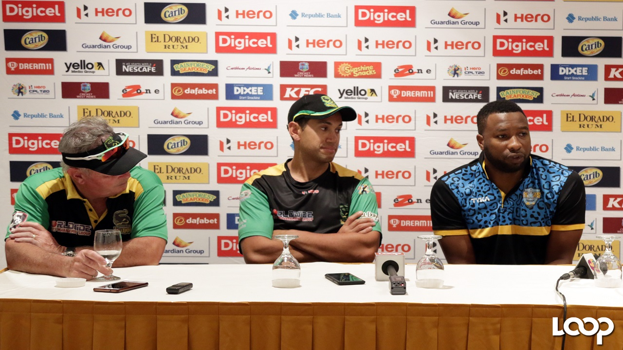 St Lucia Stars captain Kieron Pollard (right) speaks to the media during a Caribbean Premier League (CPL) Press Conference at the Jamaica Pegasus Hotel on Monday. Jamaica Tallawahs head coach Mark O'Donnell (left) and batsman Ross Taylor look on.  Jamaica Tallawahs and St Lucia Stars will face off at Sabina Park on Tuesday night, beginning at 6:00 pm. (PHOTO: Ramon Lindsay).