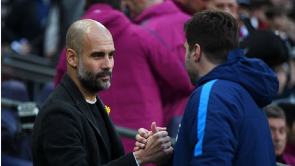 Pep Guaridola and Spurs boss Mauricio Pochettino.