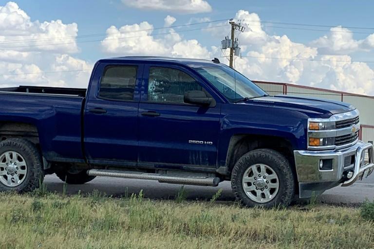 vitre de cette voiture est criblée de balles après une fusillade près de Odessa, au Texas, le 31 août 2019.