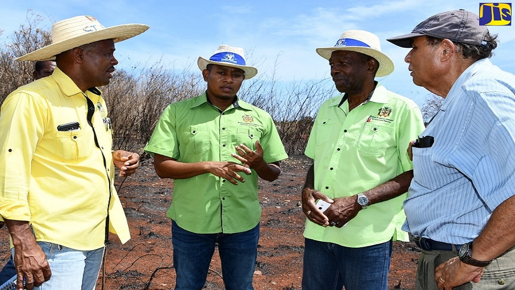State Minister in the Ministry of Agriculture, Floyd Green (second left), engages in conversation with from left: RADA Parish Manager, St Elizabeth, Nathan Samuels; Minister without Portfolio in the ministry, JC Hutchinson; and Black River Mayor, Derrick Sangster, during a tour of farmlands which were destroyed by fire in Flagaman, St Elizabeth on August 16.