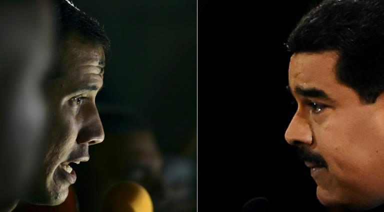 L'opposant Juan Guaido (g) et le président Nicolas Maduro (d)