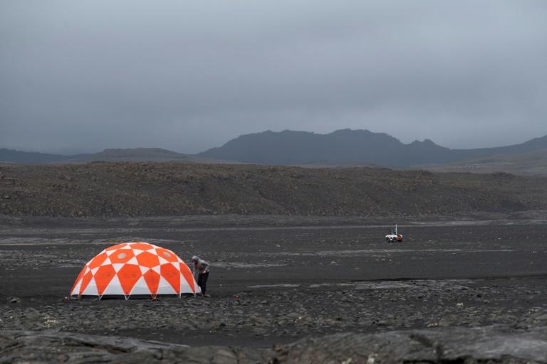 La base de la Nasa dans le champ de lave islandais de Lambahraun, le 19 juillet 2019