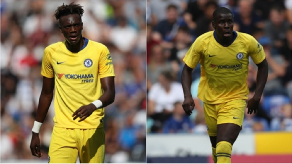Tammy Abraham (left) and Kurt Zouma.