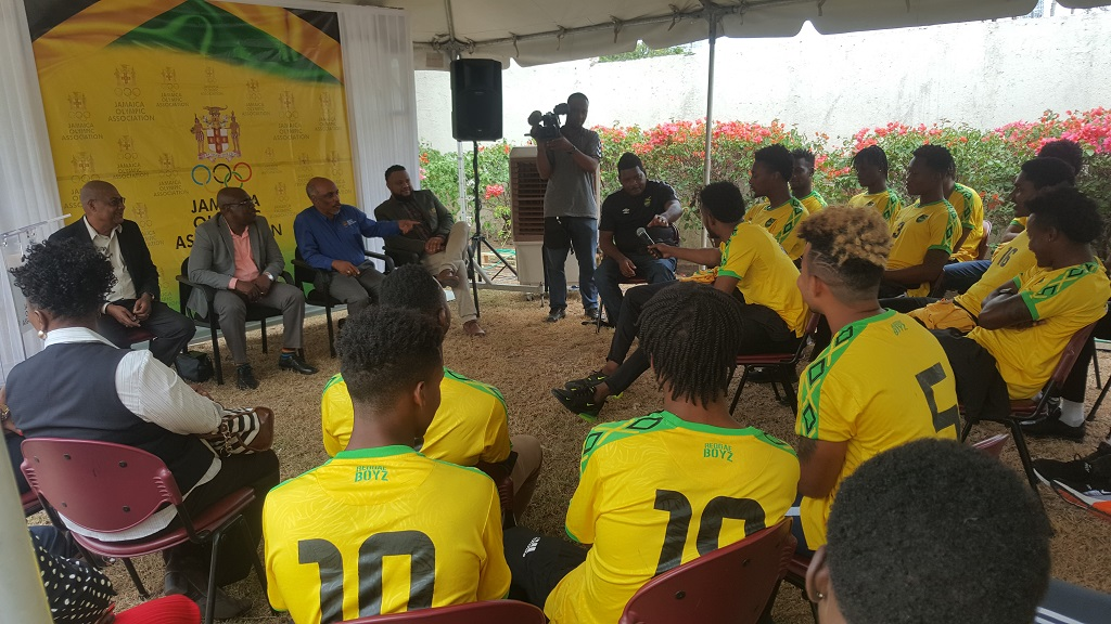 Jamaica's Under-23 men's football team at a recent Motivational Talk hosted at the JOA headquarters, Olympic Manor on Cunningham Avenue in Kingston.