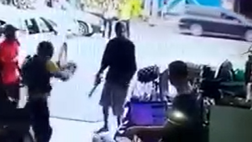 Screengrab of video showing the fatal shooting of a man by a security guard in St Mary on Thursday.