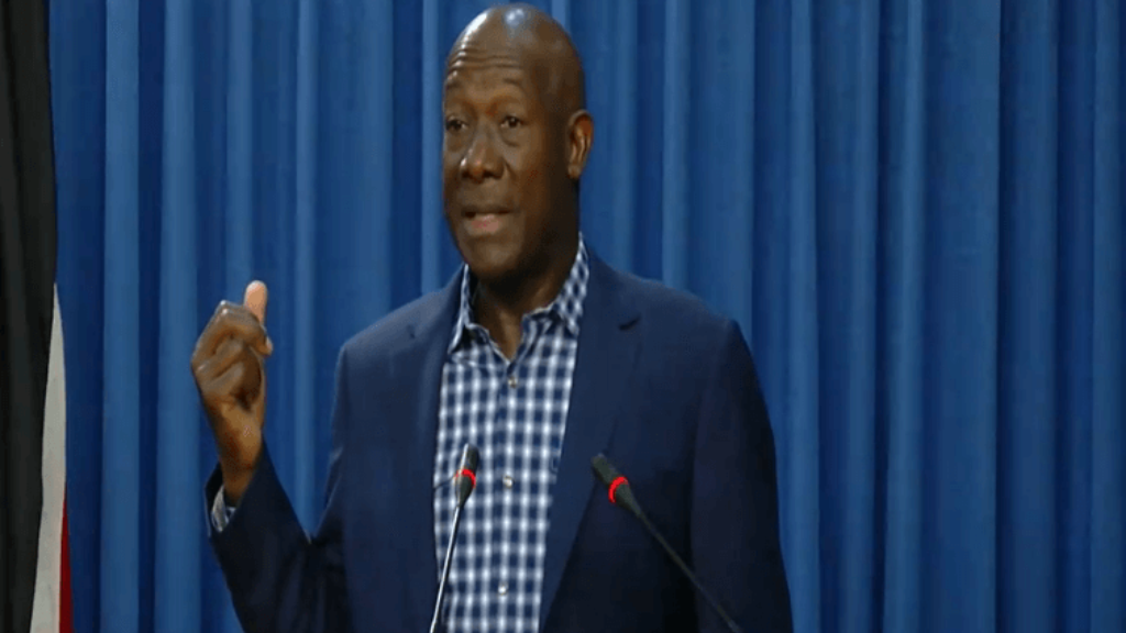 Prime Minister Dr Keith Rowley speaks at a media conference at the Diplomatic Centre, St Ann's, on August 27, 2019.
