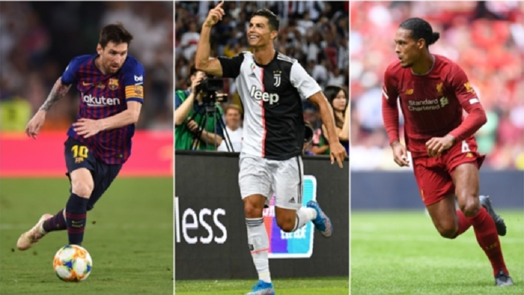 Lionel Messi, Cristiano Ronaldo and Virgil van Dijk.