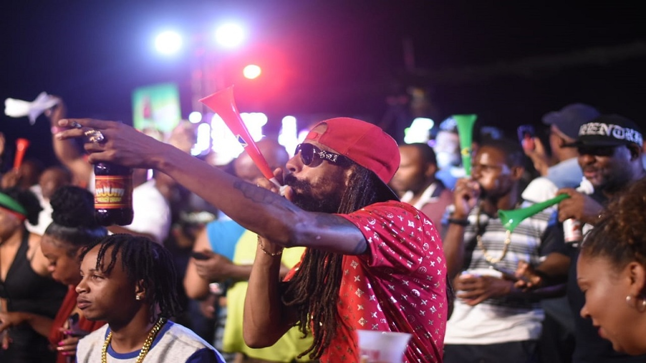 File photo of a man blowing a vuvuzela to show his support for a selection at the 2019 Sumfest Sound Clash.