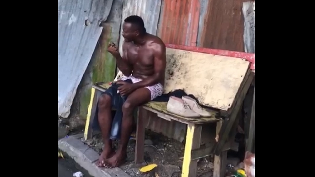 Screenshot of a viral video showing a man crying over allegedly being 'ripped off' at a guest house in St Thomas.