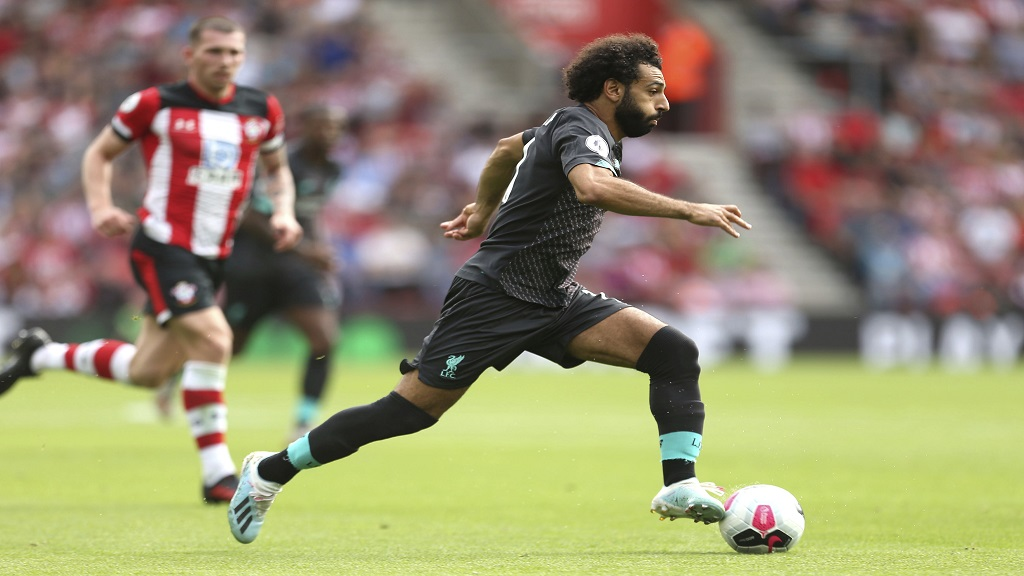 Liverpool's Mohamed Salah in action, during the English Premier League football match against Southampton at St Mary's, in Southampton, England, Saturday, Aug. 17, 2019. (Steven Paston/PA via AP).