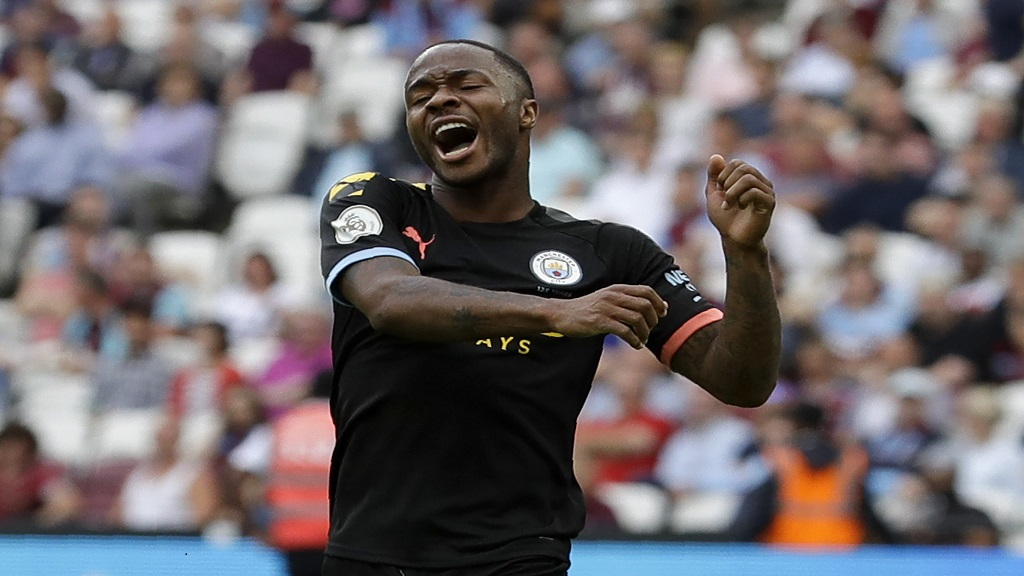 Manchester City's Raheem Sterling celebrates after scoring his side's fifth goal during the English Premier League football match against West Ham United at London stadium in London, Saturday, Aug. 10, 2019. (AP Photo/Kirsty Wigglesworth).