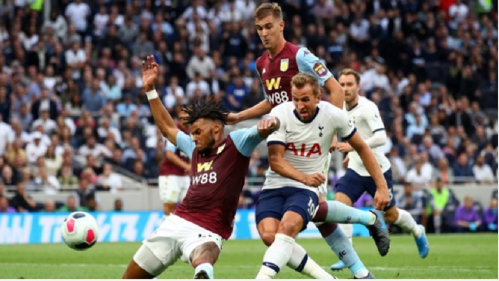 Tottenham's Harry Kane (rights) scores against Aston Villa.