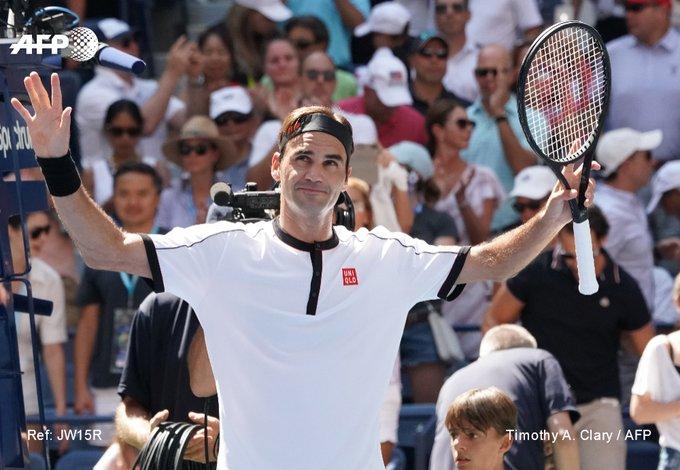 Le Suisse Roger Federer se qualifie pour les 8es de finale de l'US Open le 30 août 2019