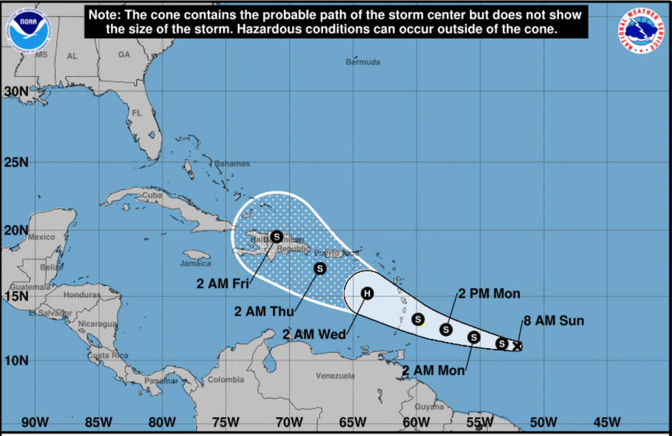 The fourth tropical storm of the 2019 Atlantic hurricane season formed Saturday afternoon.  At 8 a.m., Tropical Storm Dorian is 830 kilometres east-southeast of Barbados, clocking maximum sustained winds between 40 and 55 kph.