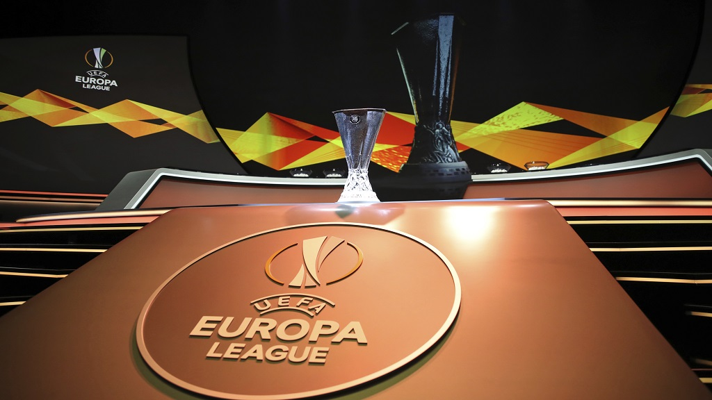 The Europa League trophy is put on display before the UEFA Europa League group stage draw at the Grimaldi Forum, in Monaco, Friday, Aug. 30, 2019. (AP Photo/Daniel Cole).