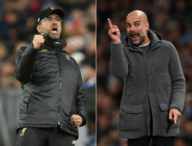 L'entraîneur de Liverpool Jürgen Klopp (g) lors du 8e de finale de C1 contre le Bayern à Munich le 13 mars 2019 et l'entraîneur de Manchester City Pep Guardiola lors du match contre Leicester le 6 mai 2019 à Manchester