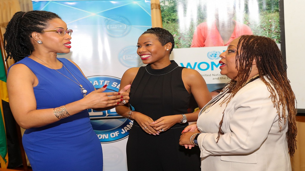 •	Kayon Mitchell (left), Senior Manager, Corporate Communications, Northern Caribbean at Flow engages in conversation with Makeba Bennett-Easy (centre), CEO, PSOJ and Dr. Denise Chevannes-Vogel (right), National Private Sector Specialist - Jamaica UN Women Win-Win Programme during the launch of the PSOJ's Gender and Disabilities Affair Committee.