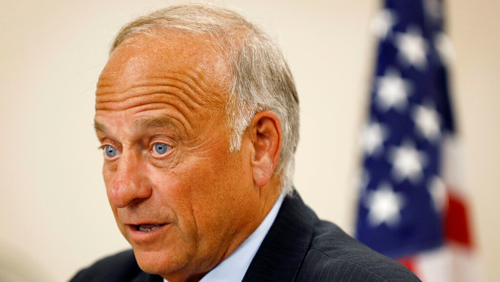U.S. Rep. Steve King, R-Iowa, speaks during a town hall meeting, Tuesday, Aug. 13, 2019, in Boone, Iowa. (AP Photo/Charlie Neibergall)
