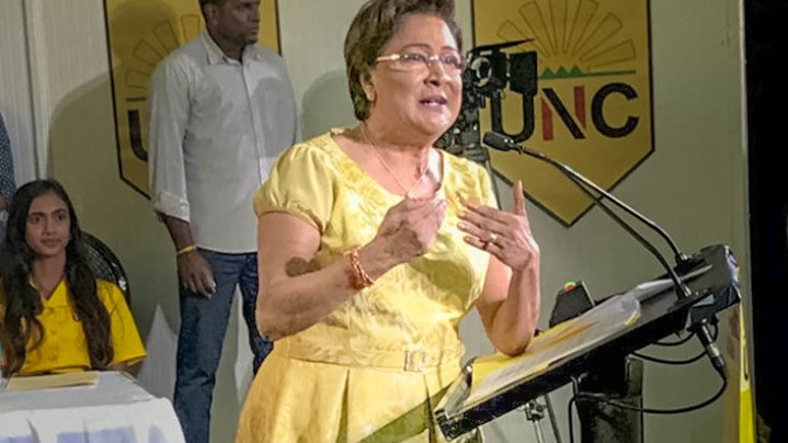 Opposition leader Kamla Persad-Bissessar speaks at the Monday Night Forum August 26, 2019. Photo via Facebook, Kamla Persad-Bissessar.