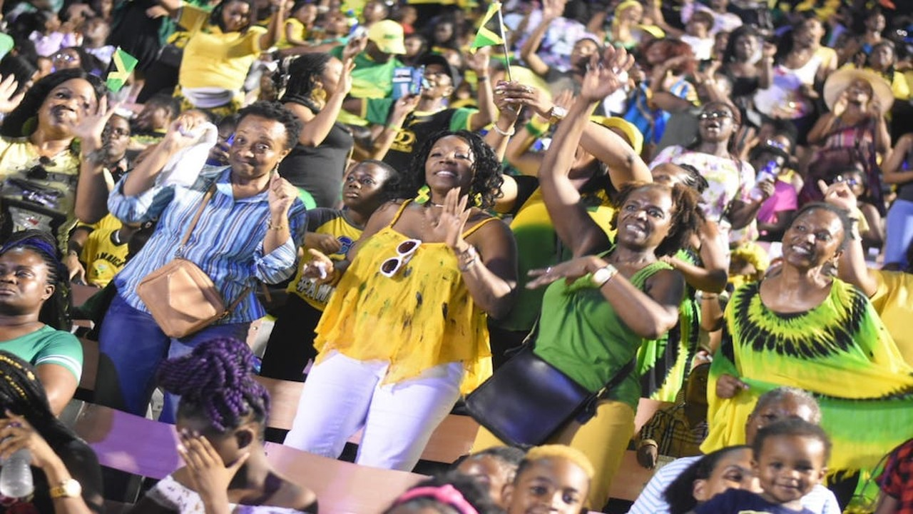 Jamaicans celebrate the island's 57th anniversary of Independence on Tuesday at the National Stadium in Kingston. (PHOTOS: Marlon Reid)