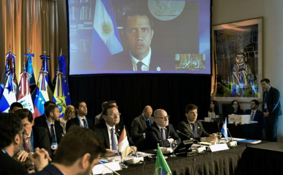 Vidéo-conférence de l'opposant vénézuélien Juan Guaido lors d'une réunion du Groupe de Lima, le 23 juillet 2019 à Buenos Aires, en Argentine afp.com - ROBERTO GARAGIOLA