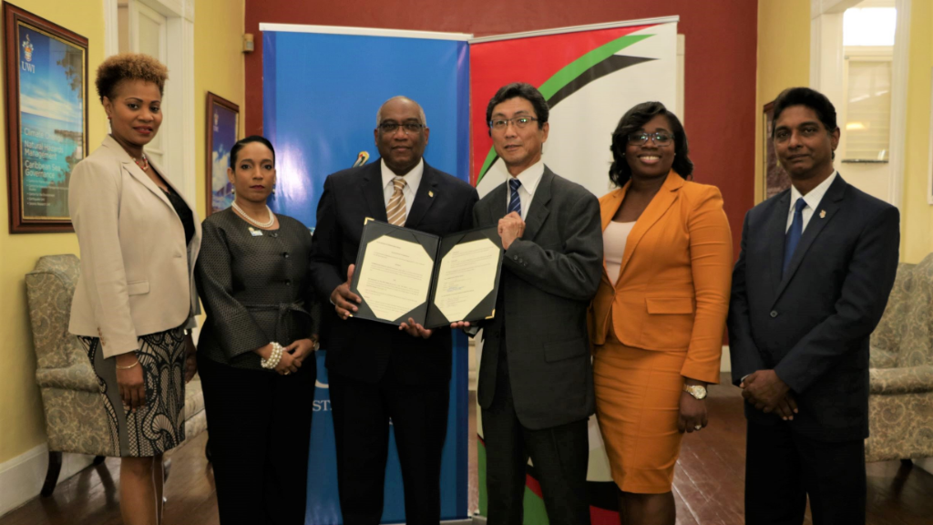 (L-R) Dr Deirdre Charles – Director, The UWI St. Augustine Campus Division of Student Services and Development, Ms. Kristy Mannette-Smith – Manager (Ag.) Financial Advisory Services, Pro Vice-Chancellor and Campus Principal Professor Brian Copeland, Mr. Hiroshi Kita – Chief Executive Officer, CGCL, Mrs Donielle Charles-Rodriguez, Corporate Secretary, CGCL and Professor Indar Ramnarine, The UWI St. Augustine's Deputy Campus Principal, at the MoA signing ceremony.