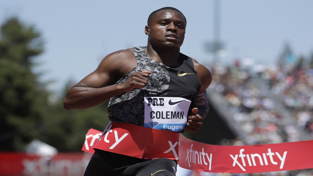 In this June 30, 2019, file photo, United States' Christian Coleman wins the men's 100-metre race at the Prefontaine Classic IAAF Diamond League athletics meet in Stanford, Calif.
