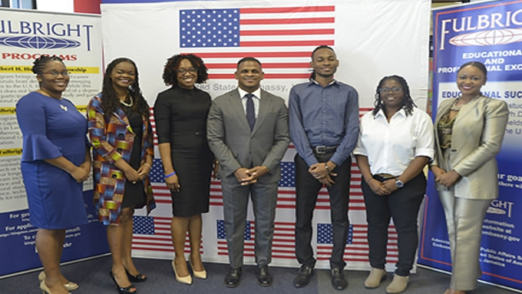 From left: Rochelle Channer Miller (Fulbright LASPAU); Cerita Buchanan (Humphrey Fellowship); Nicola Satchell (Fulbright LASPAU); Jeremiah Knight Counselor for Public Affairs, U.S. Embassy, Kingston; Chavon Rogers (Fulbright Graduate Student); Kelley-Ann Lindo (Fulbright Graduate Student); and Ren-Neasha Blake (Fulbright Graduate Student).