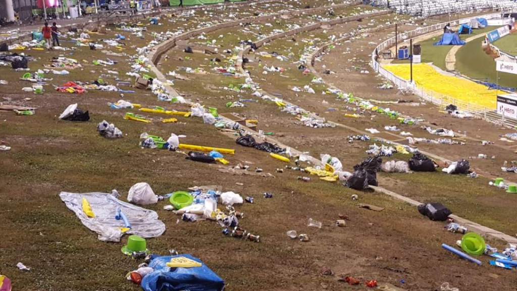 Photo: A viral photo showing bags of garbage left behind at the Brian Lara Stadium, following the CPL final, brought defensive comments from some Trinbagonians, who said persons were paid to clean up after them. Photo courtesy Facebook user Supriya Endigeri.