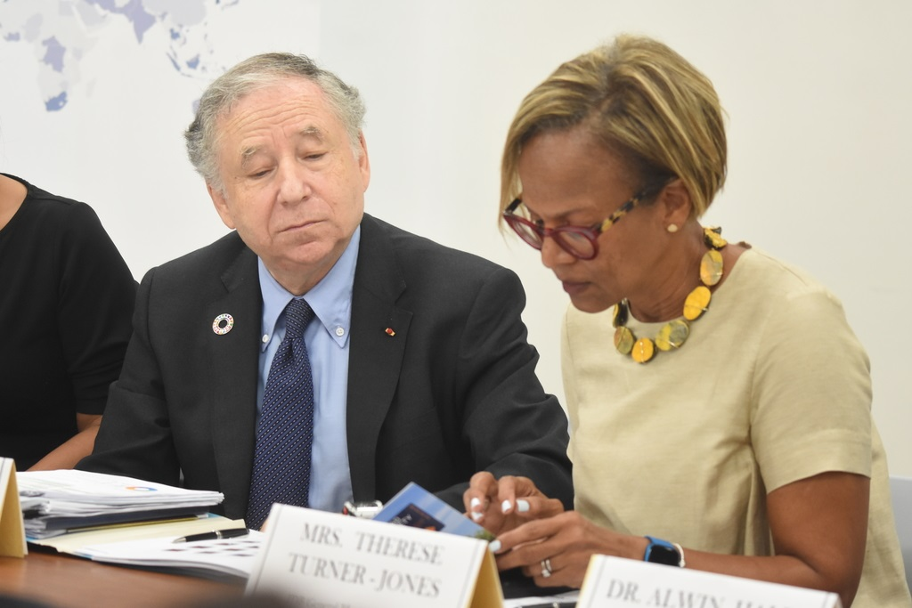 Jean Todt, United Nations Secretary-General's Special Envoy for Road Safety and regional head of IDB, Therese Turner Jones during this morning's opening session. (Photo: Marlon Reid)