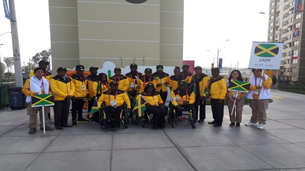 Jamaica's Parapan American team and officials pose prior to joining the parade for the opening ceremony of the 2019 Lima Parapan American Games on Friday, August 23.