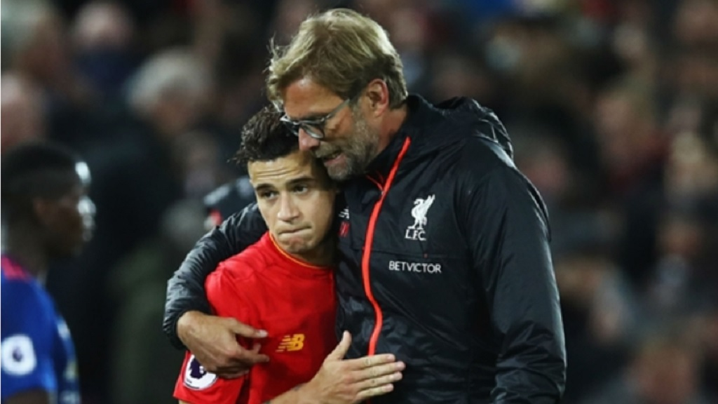 Philippe Coutinho and Jurgen Klopp at Liverpool.