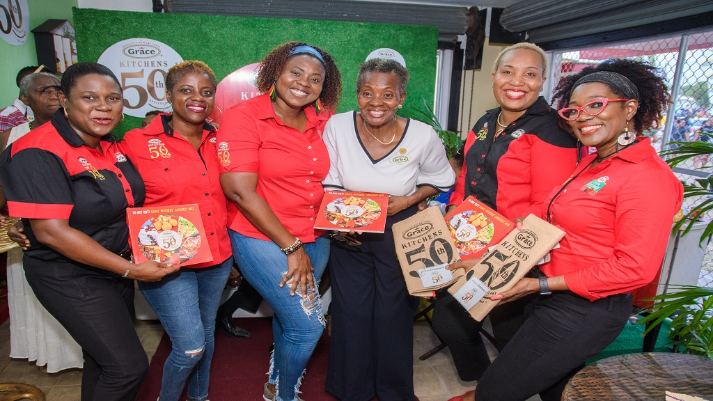 Tamara Thompson, General Manager, Angella Black, Senior Brand Manager Fish & Meats, Karen Mussington, Senior Brand Manager, Beverages, Mazie Miller, Advisor to Grace Kitchens, Angella Grandison Reid, Consumer Services Manager, Grace Foods, Claudette Facey-Redwood, Brand Manager, Grace Foods